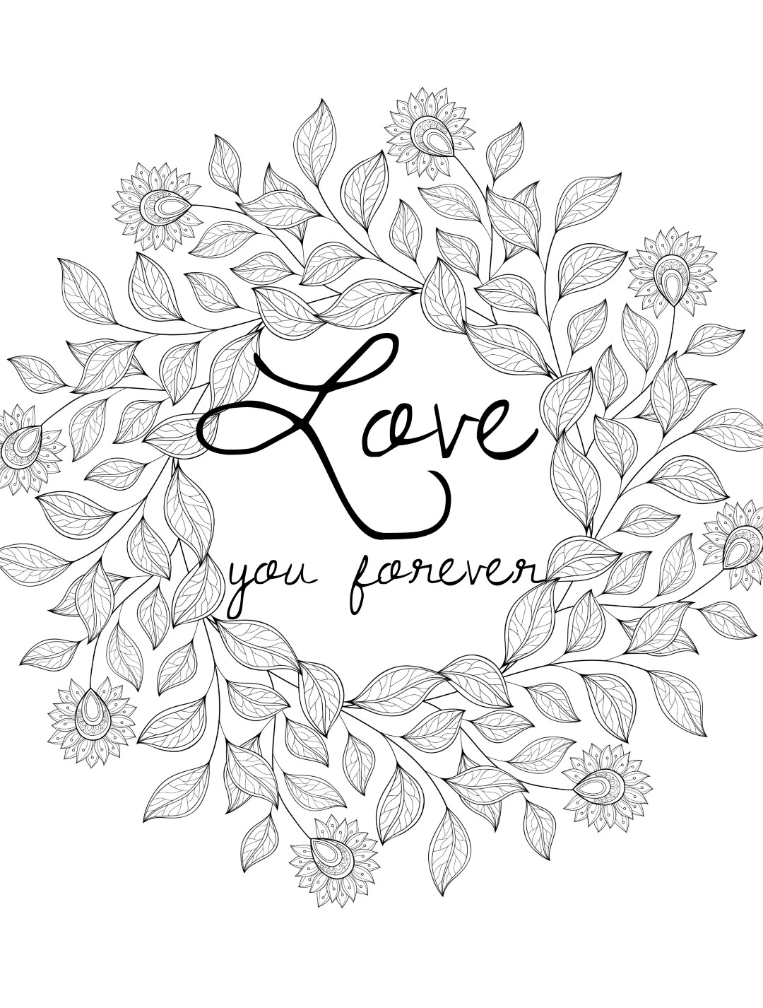 Love You Forever Valentines Day Coloring Page for Adults