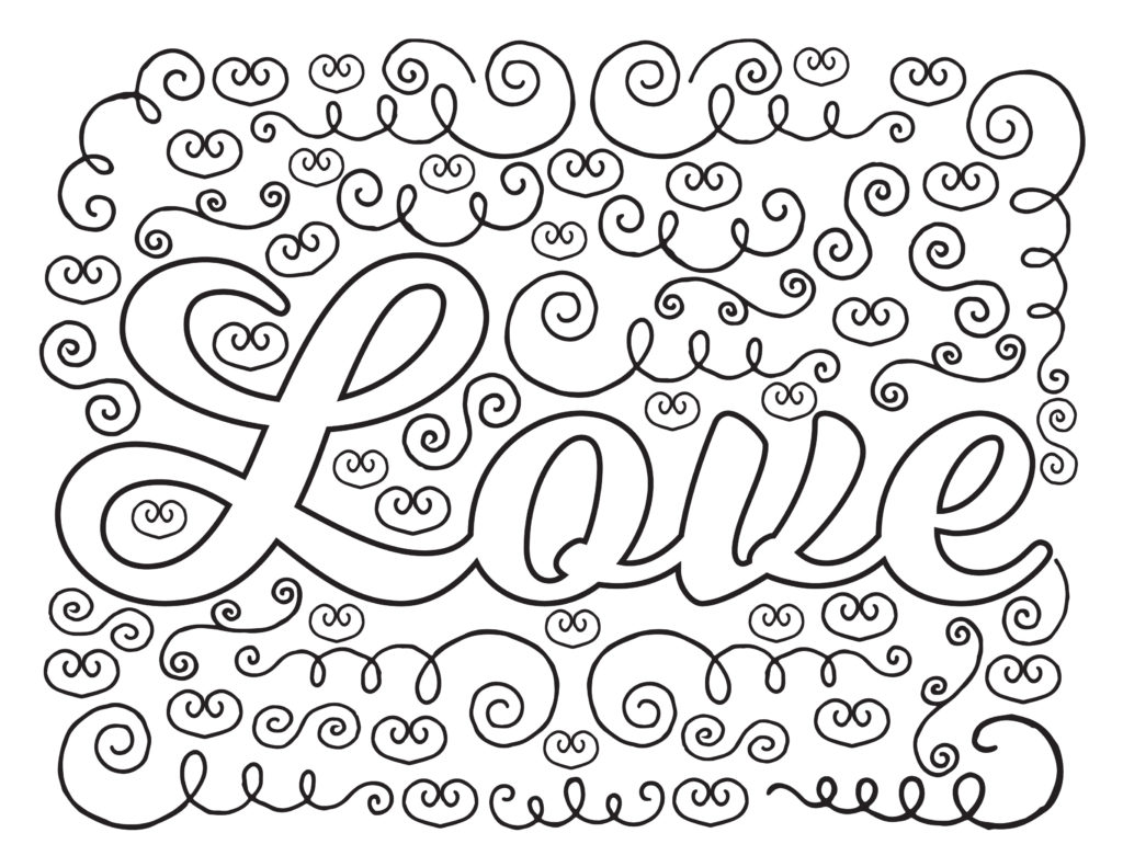 Love and Hearts Coloring Page