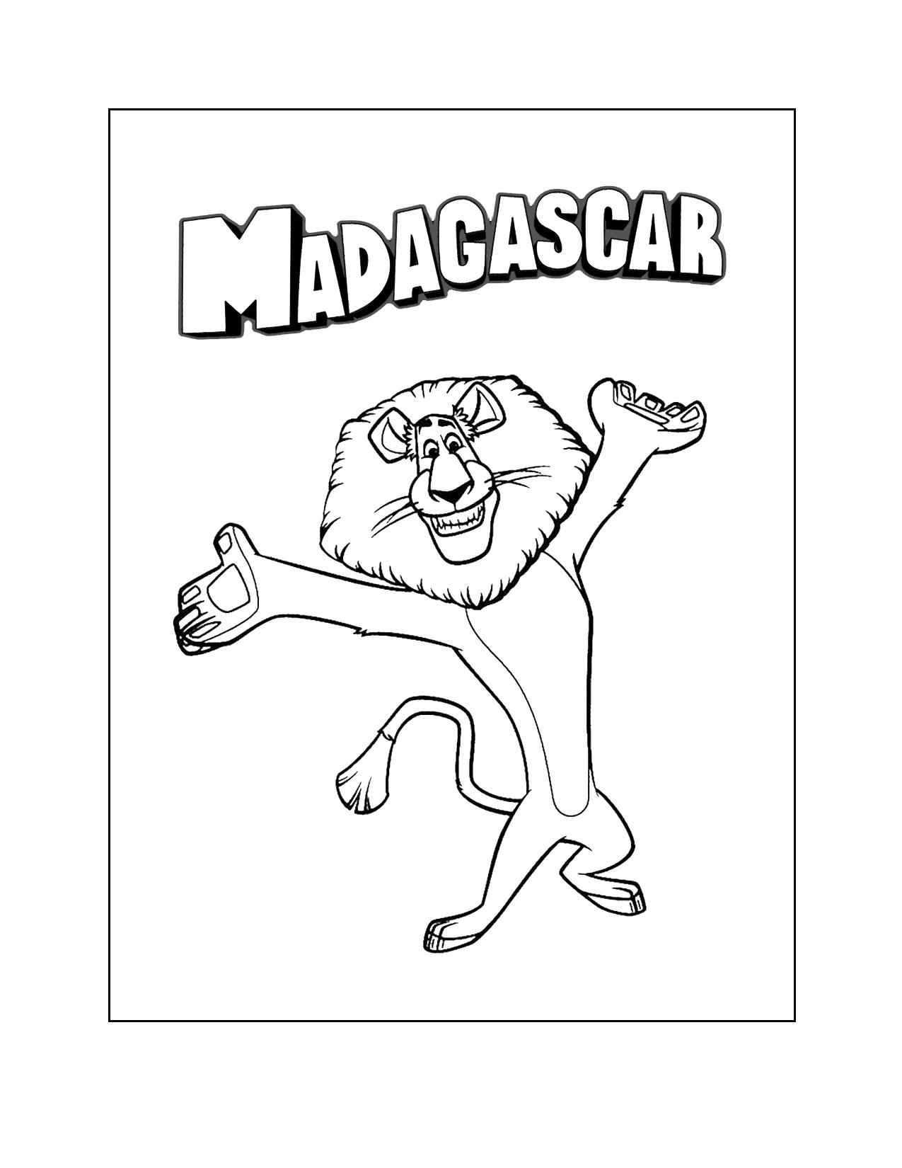 Madagascar Alex Coloring Page