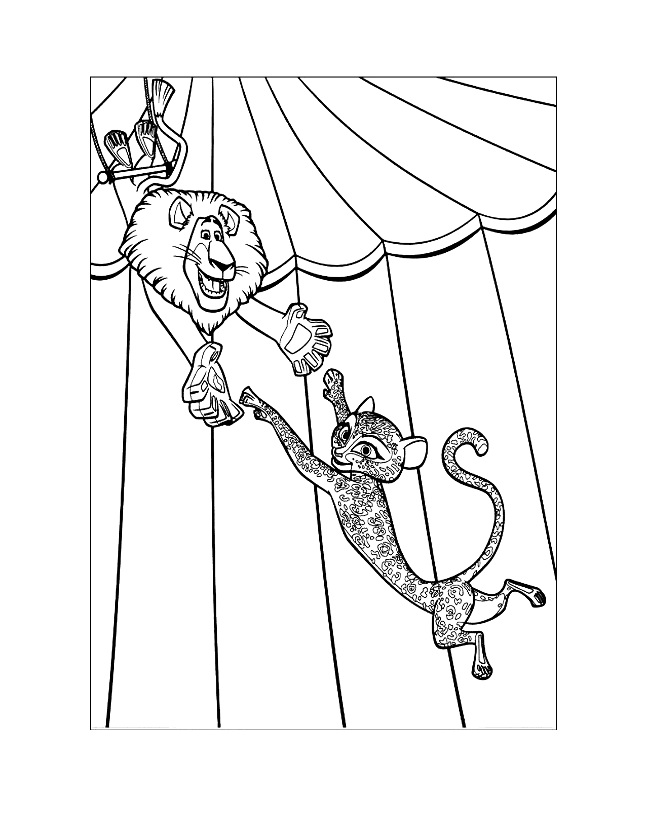 Madagascar Alex And Gia Coloring Page