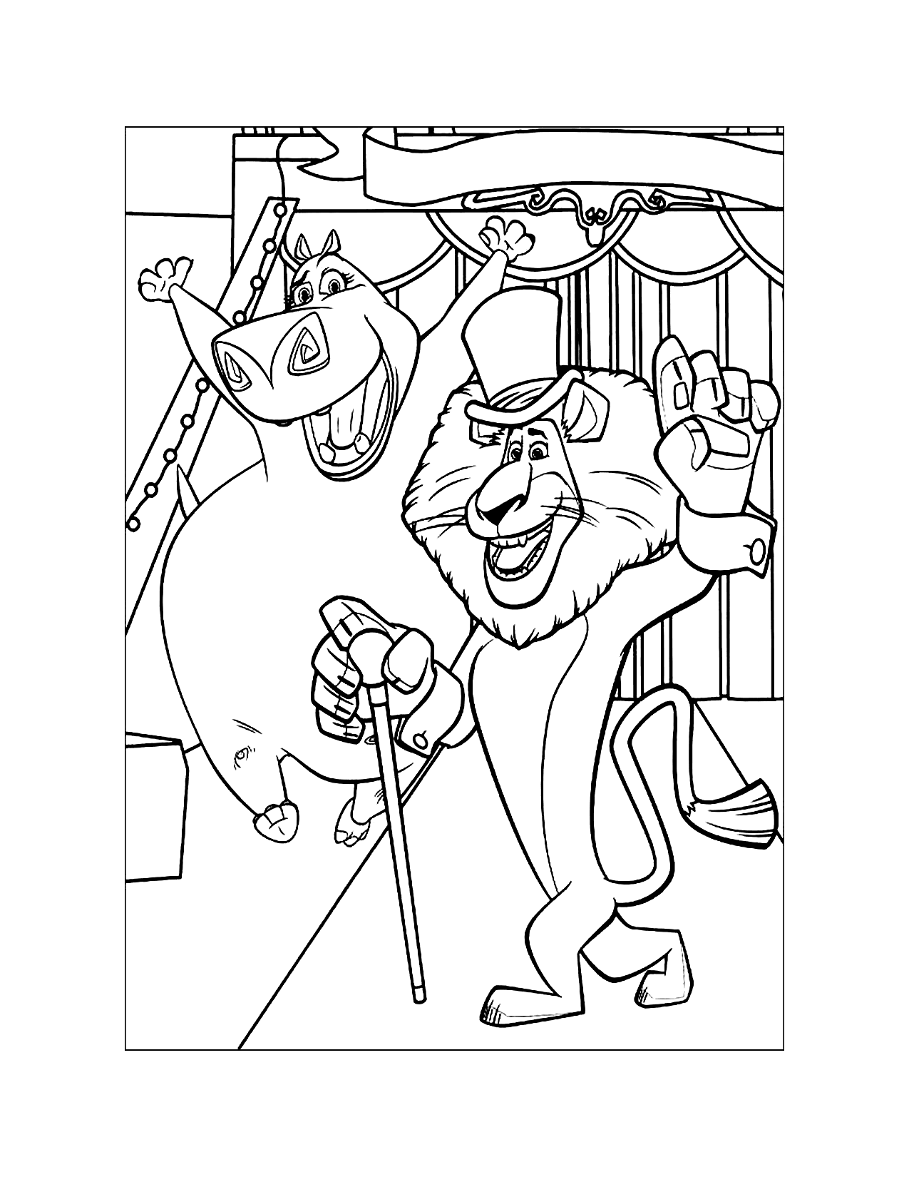Madagascar Alex And Gloria Coloring Page