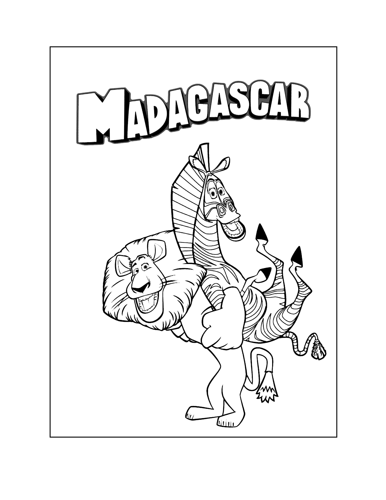 Madagascar Alex And Marty Coloring Pages