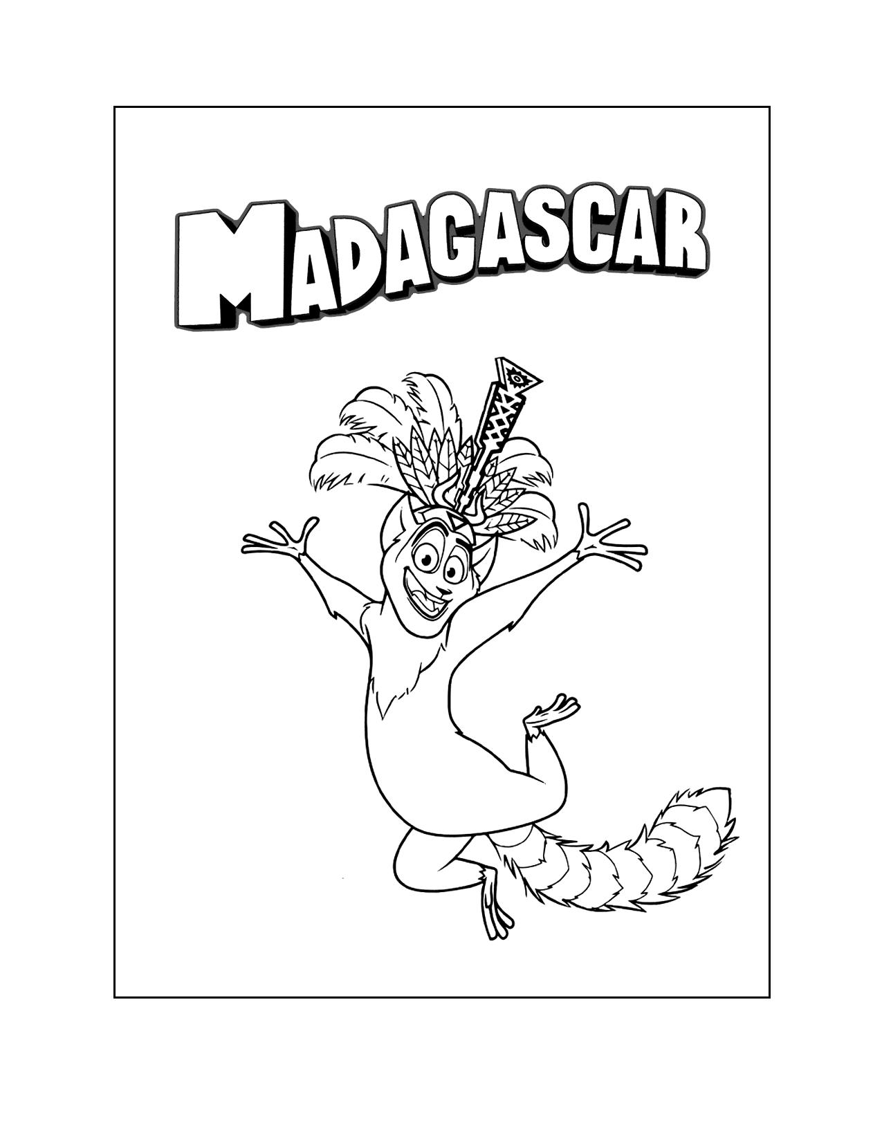 Madagascar Julien Coloring Page