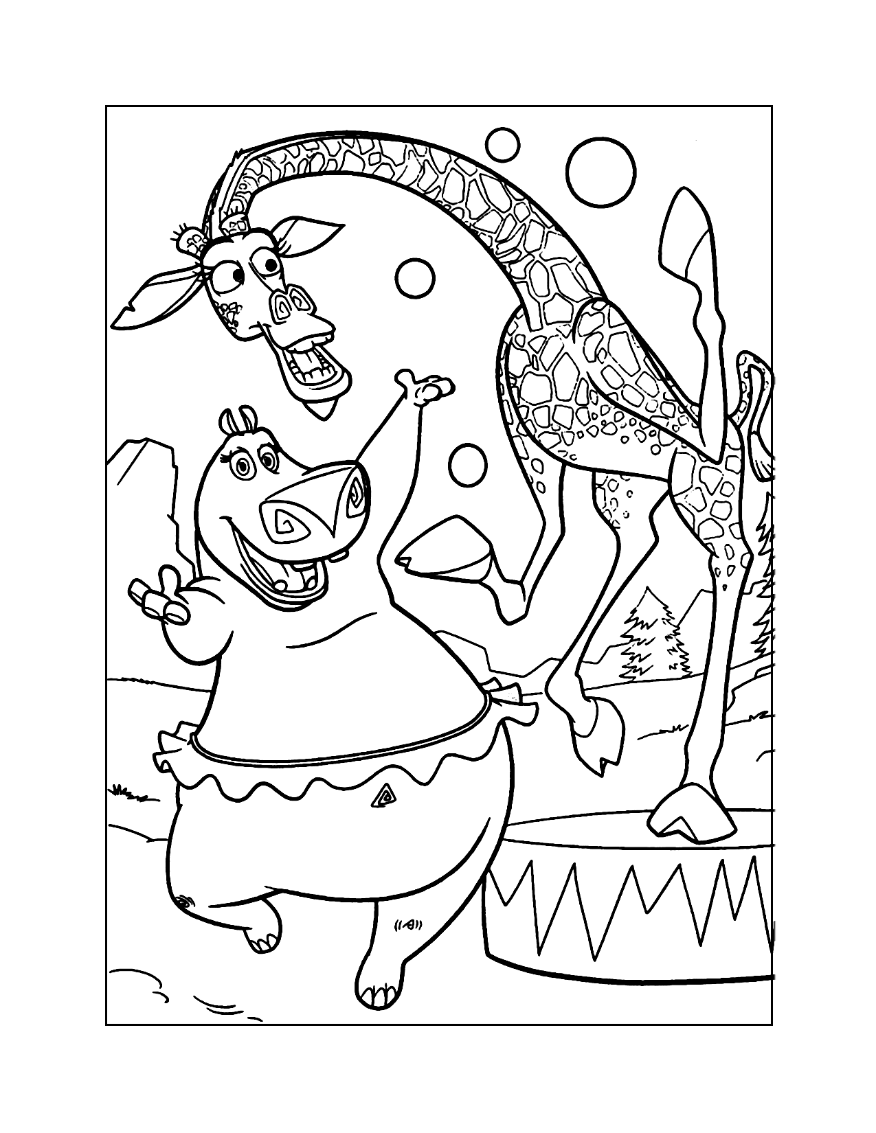 Madagascar Melman And Gloria Coloring Page