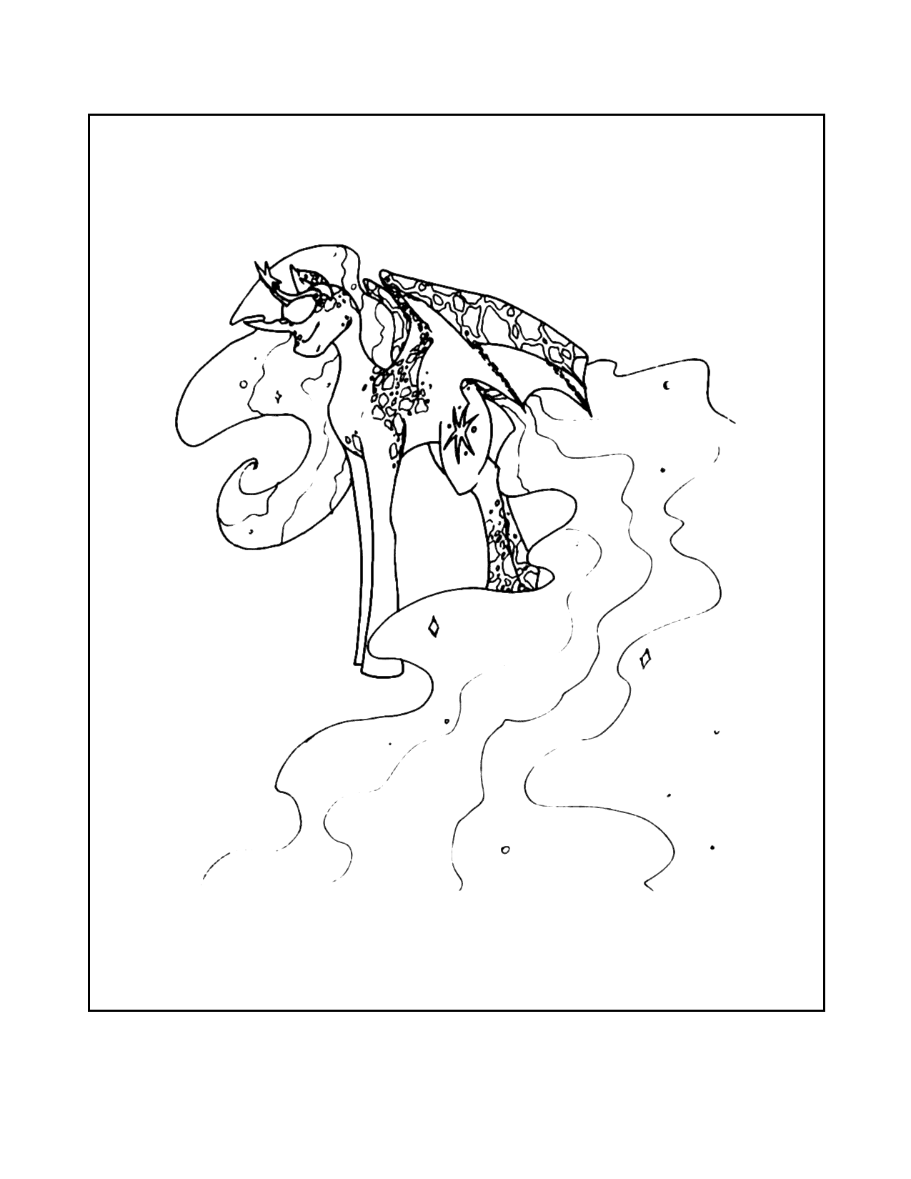 Magical Alicorn Coloring Page