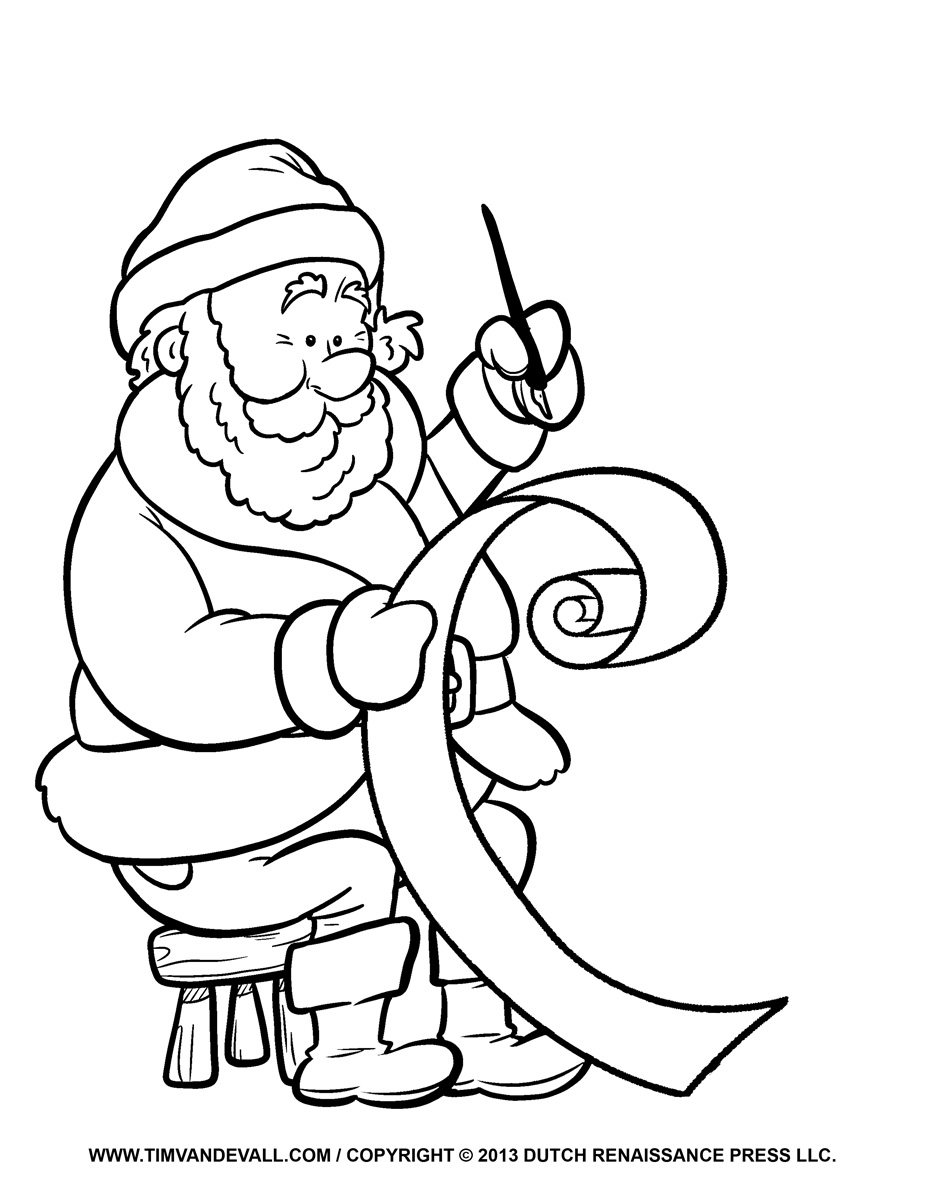 making his list santa coloring page