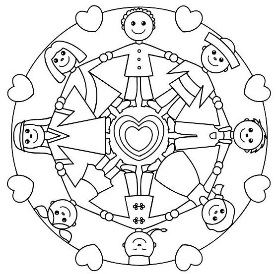 Mandala Coloring Page Kids Around the World