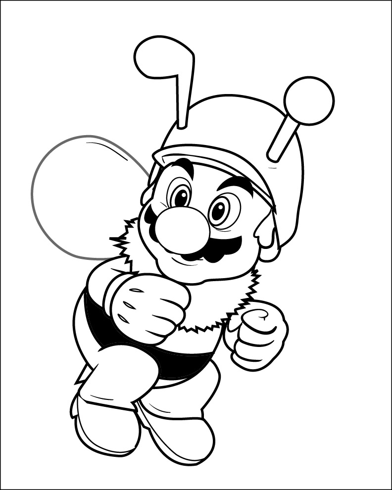 Mario Bee Coloring Pages