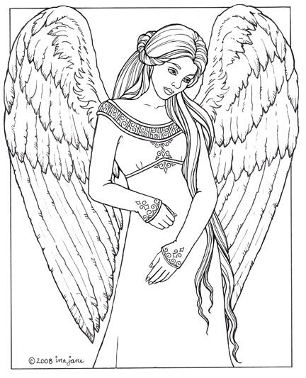 Medieval Angel Coloring Page