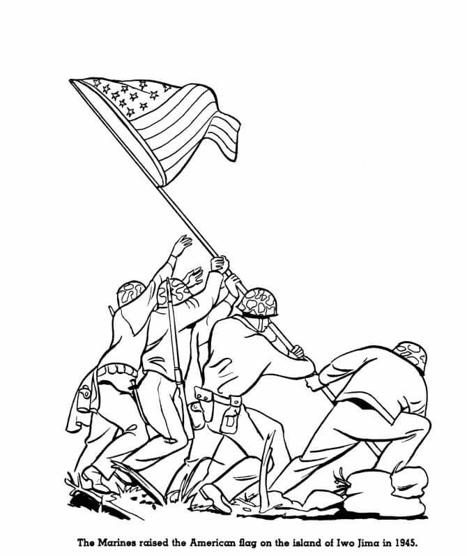 Memorial Day Raising the Flag Coloring Page