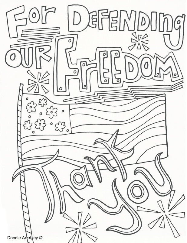 Memorial Day Thank You Coloring Page