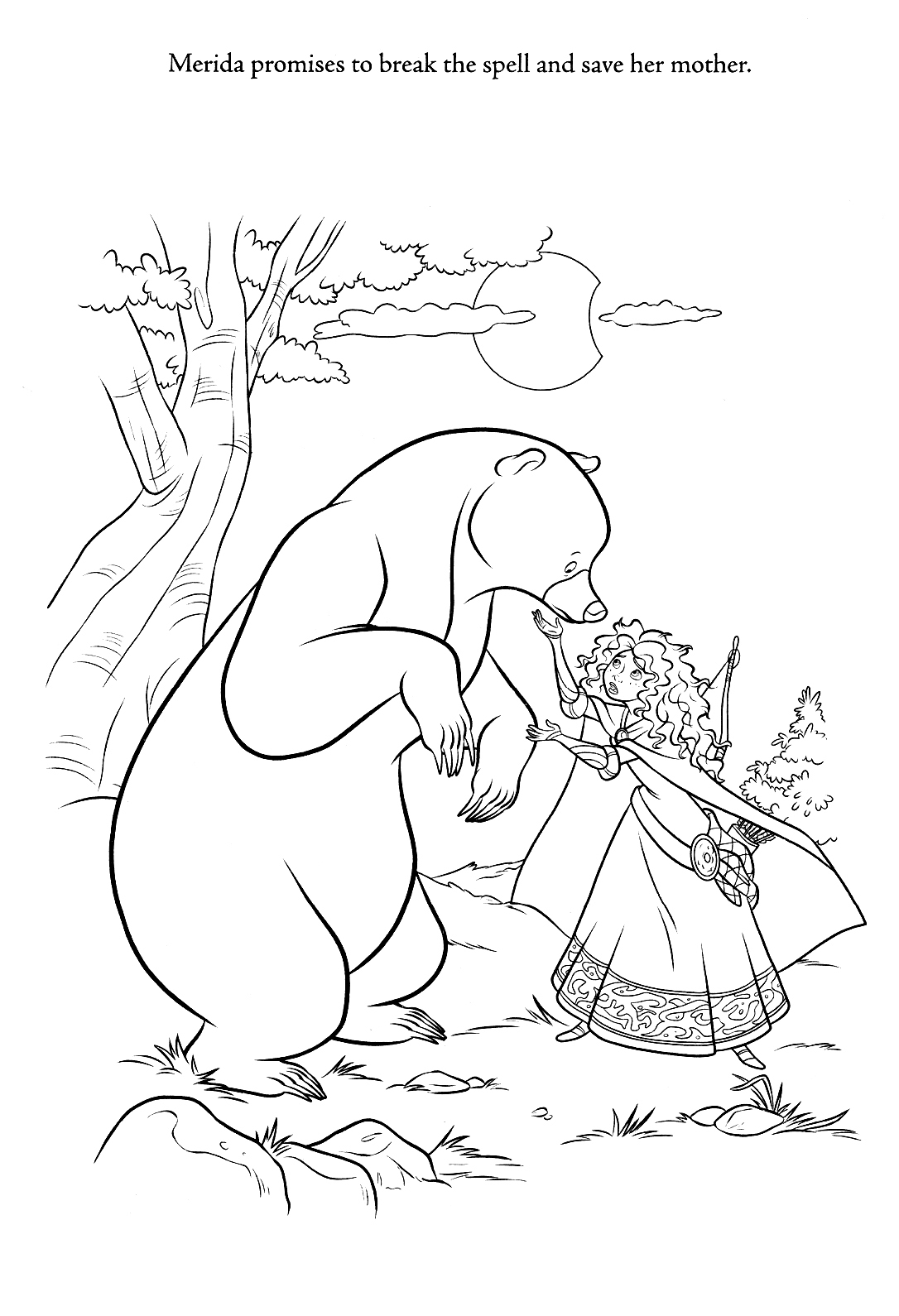 Merida and Mother Disney Princess Coloring Pages