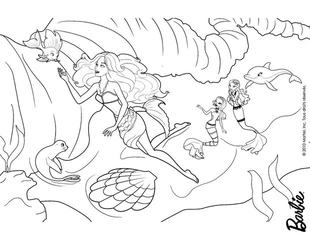 Mermaid Barbie Coloring Page Free