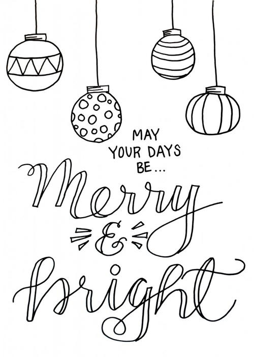 Merry And Bright Christmas Coloring Pages