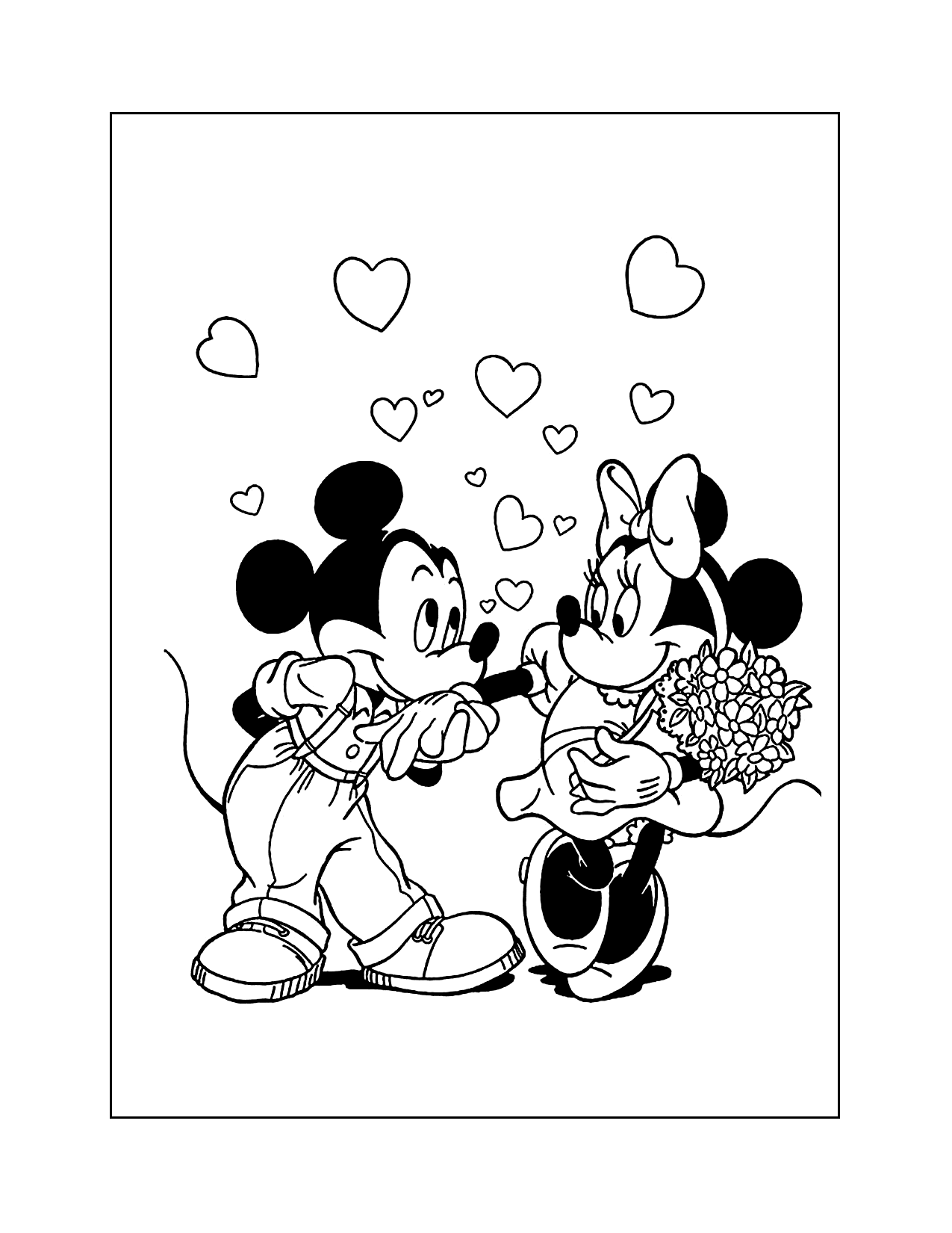 Mickey Mouse Loves Minnie Mouse Coloring Page