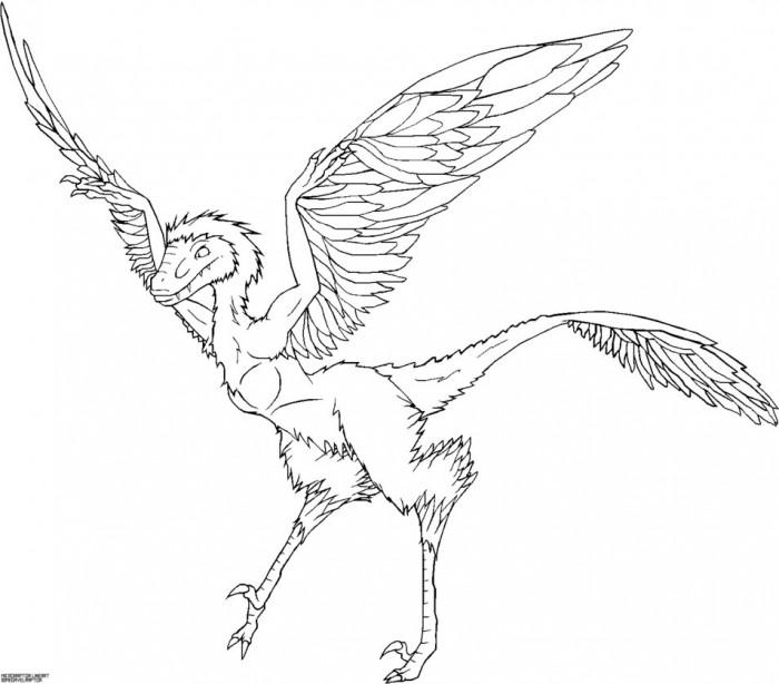 Microraptor Dinosaur Coloring Page