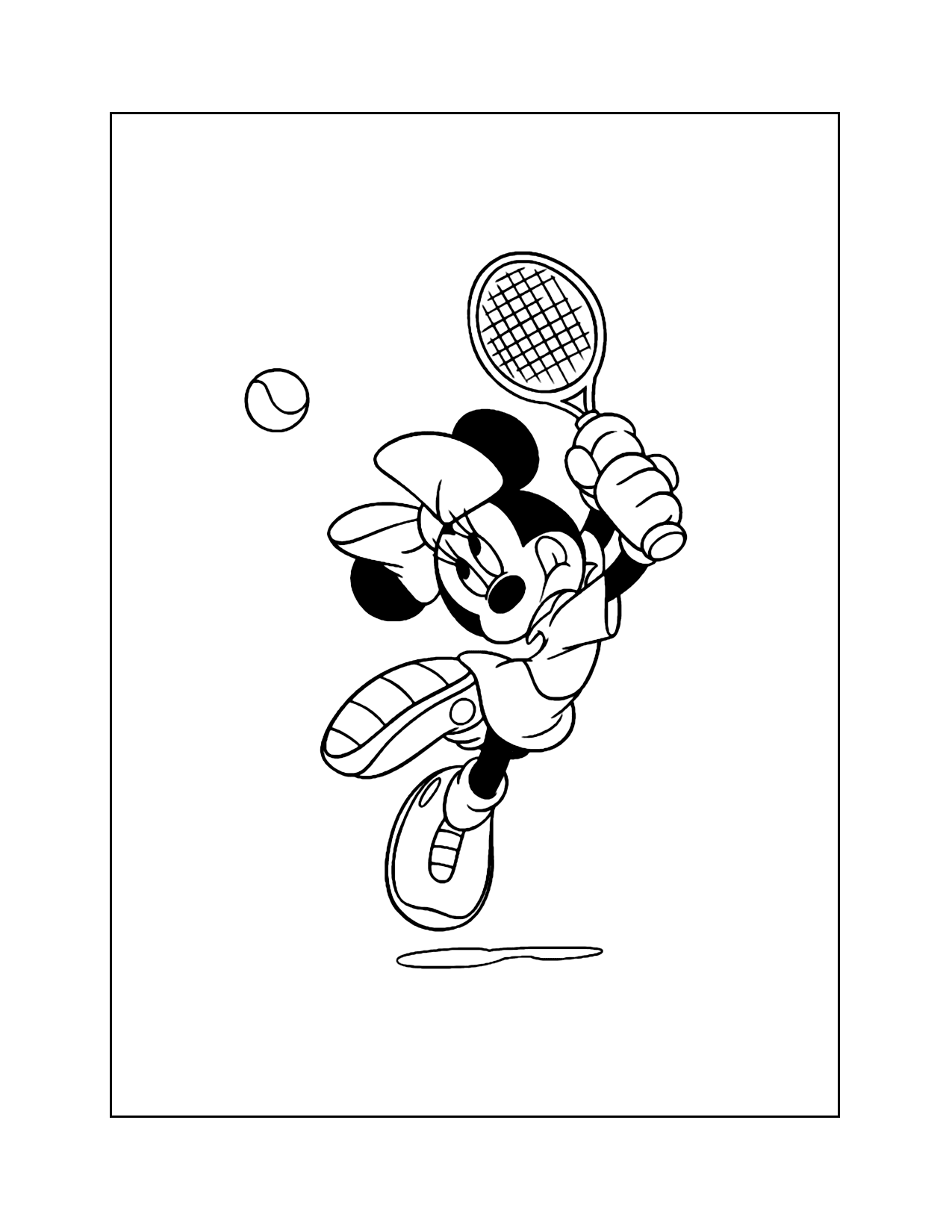 Minnie Mouse Playing Tennis Coloring Pages