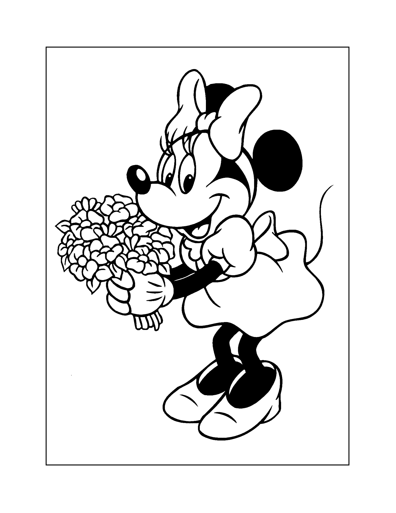 Minnie Mouse With Flower Bouquet Coloring Page