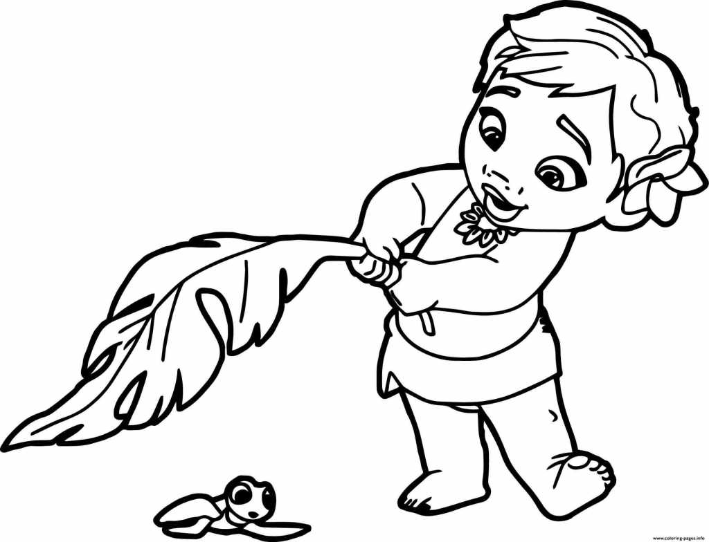Moana Saving Baby Turtle Coloring Page