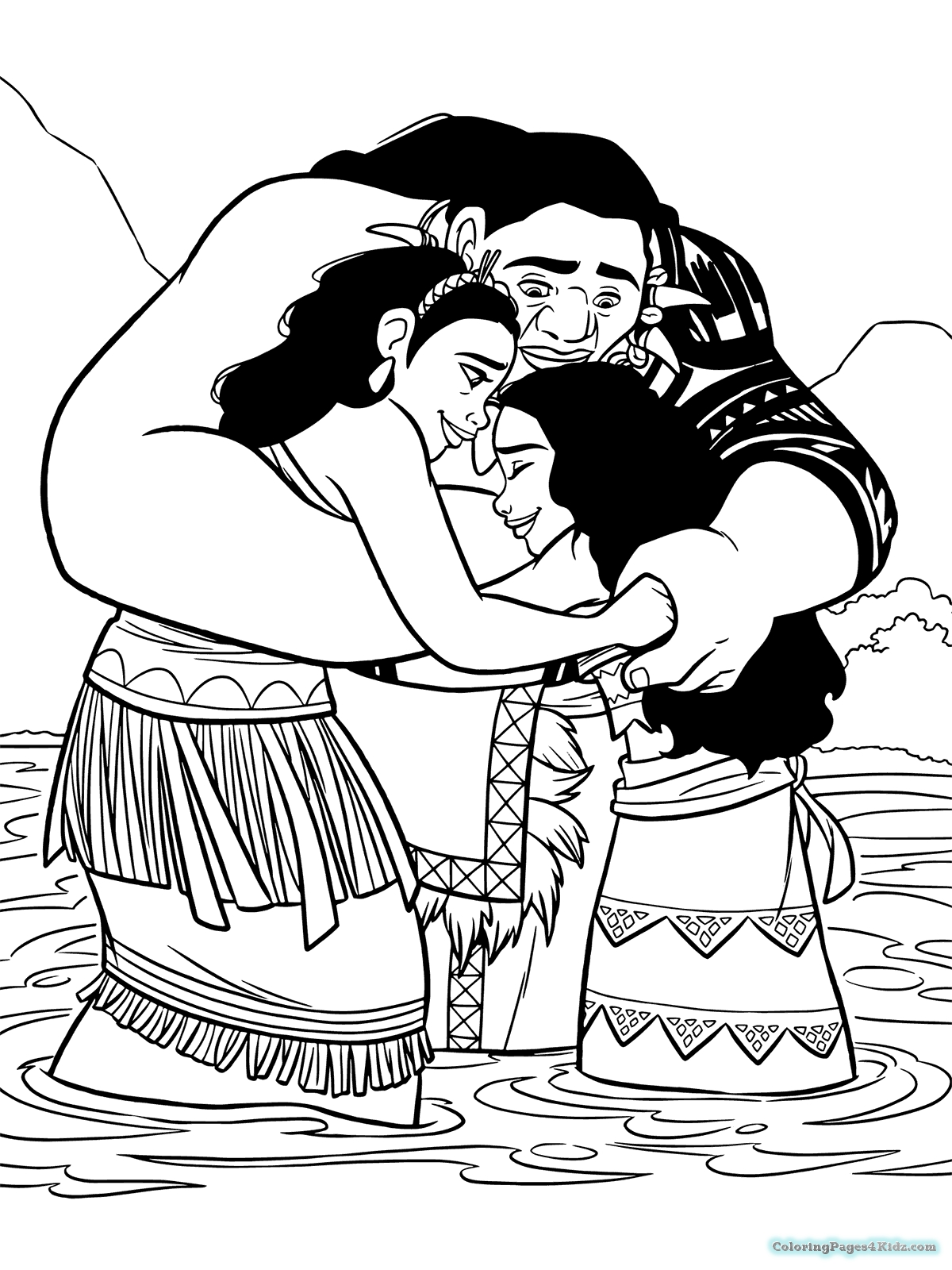 Moana and Parents Coloring Page