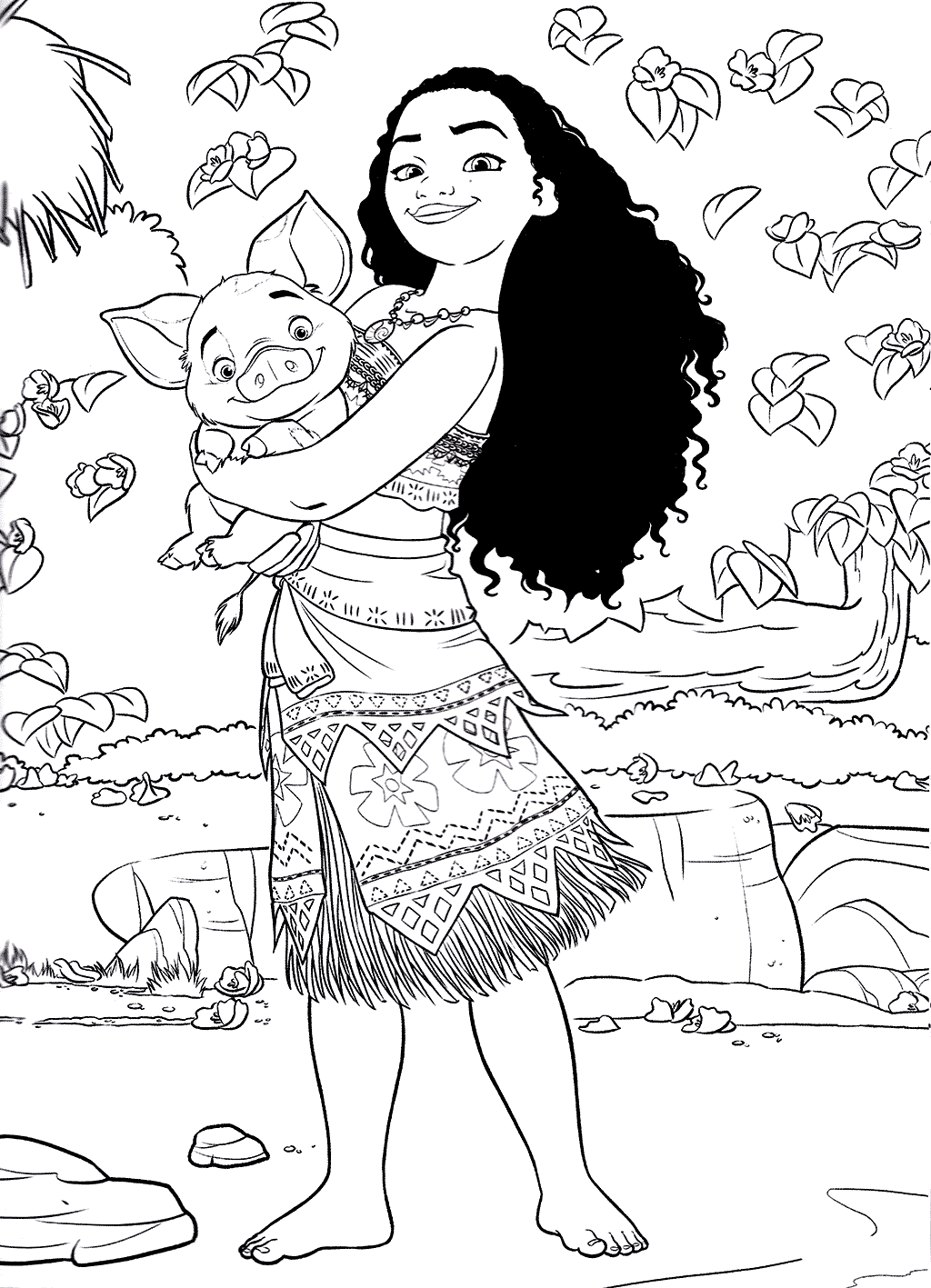 Moana and Pua Coloring Pages