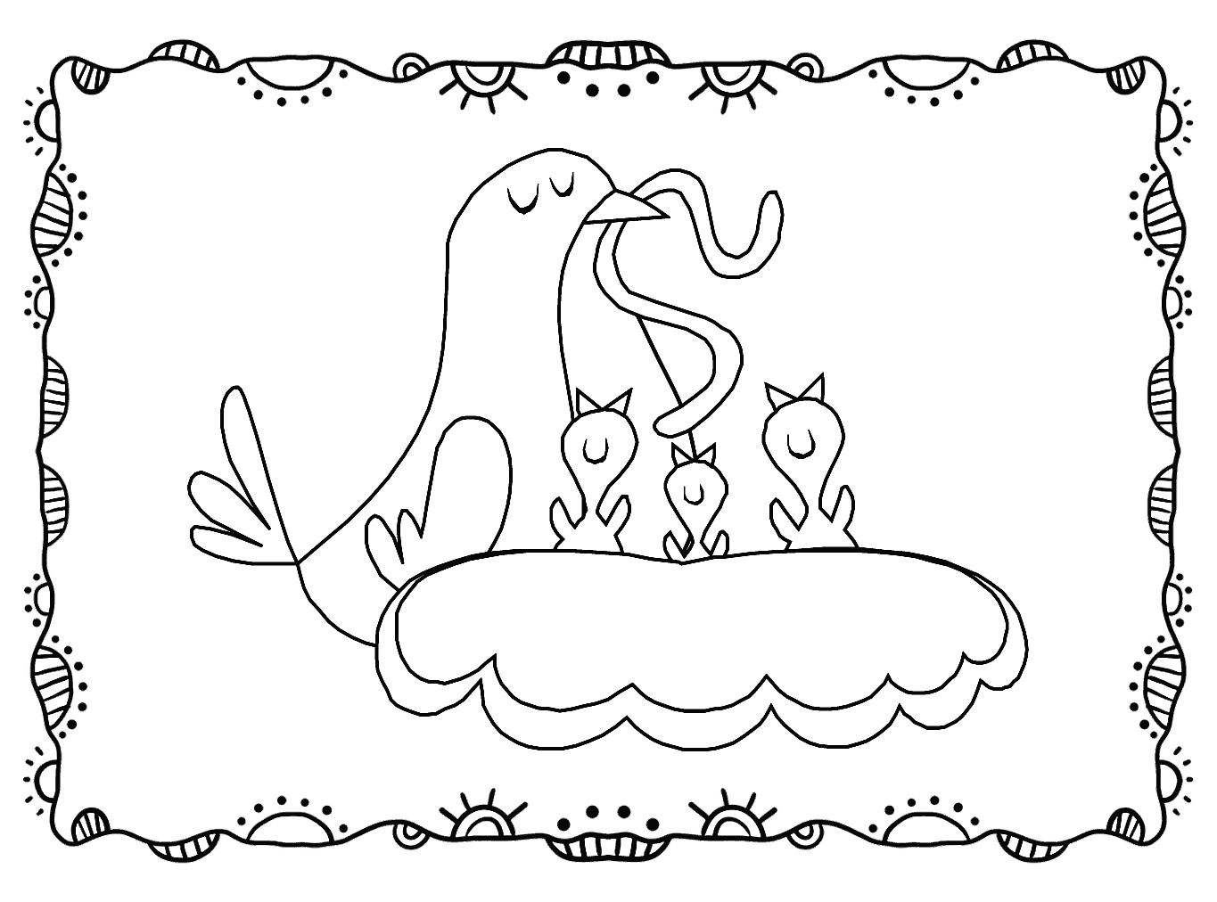 Momma Bird Feeding Babies Robins Coloring Pages