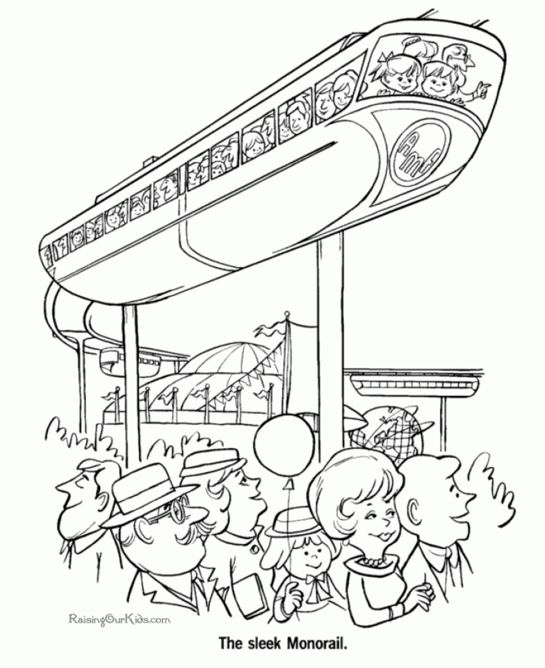 Monorail Train Coloring Page