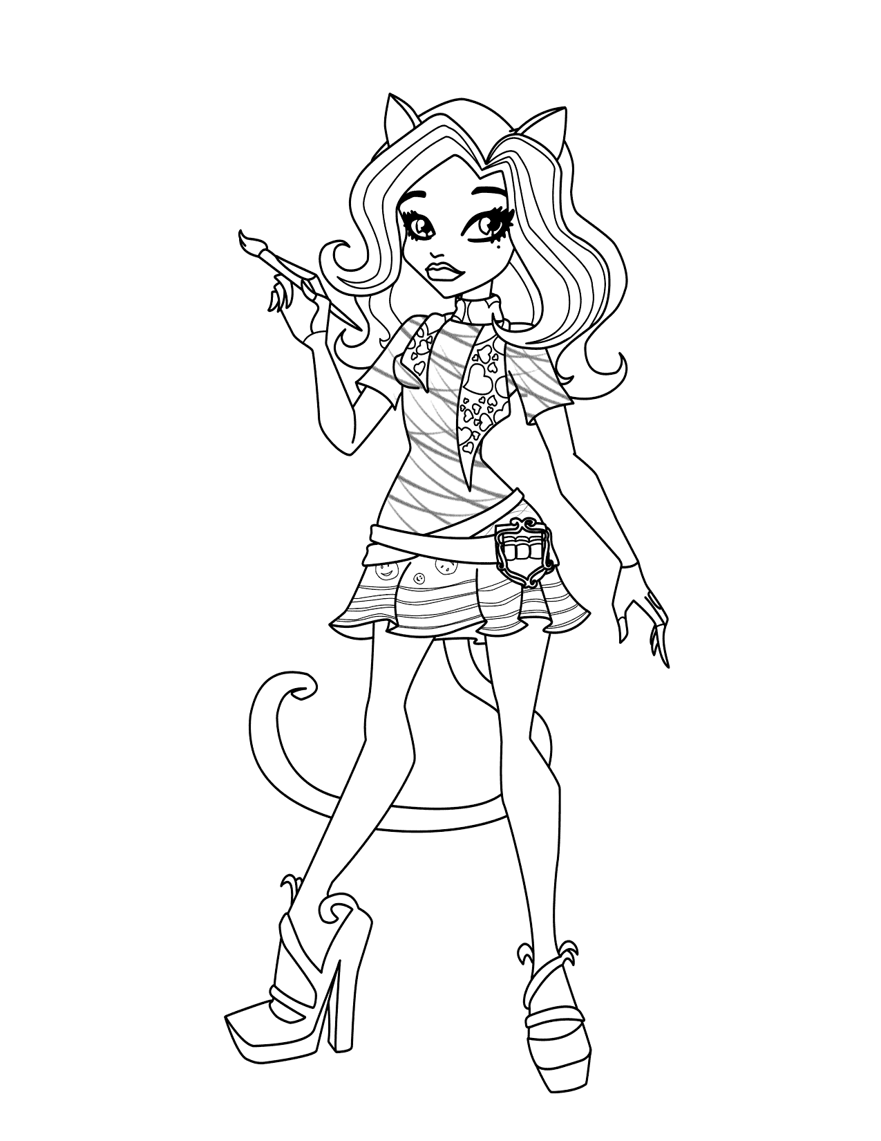 Monster High Clawdeen Painting Coloring Page