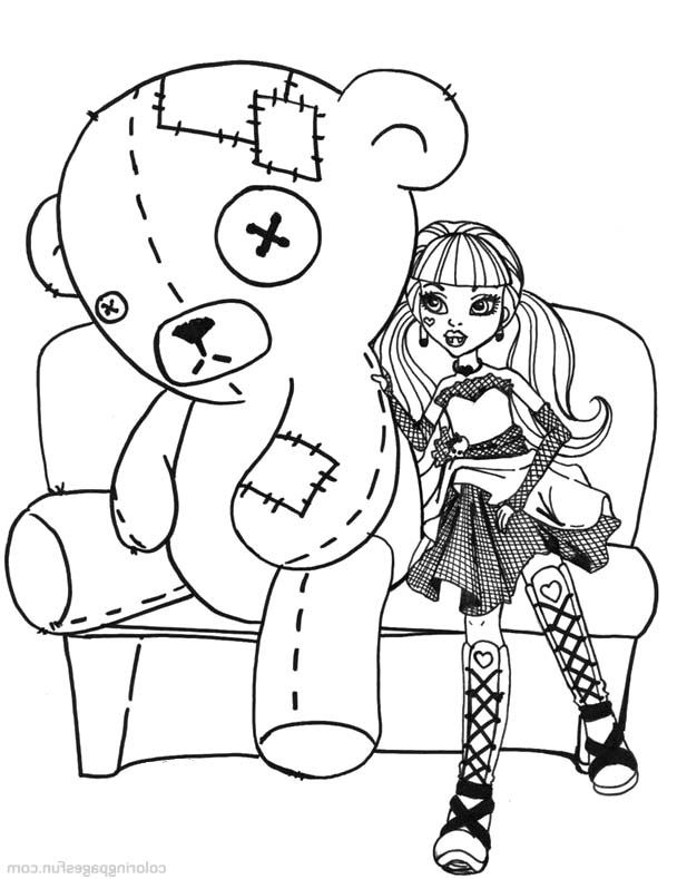 Monster High Doll and Bear Coloring Page