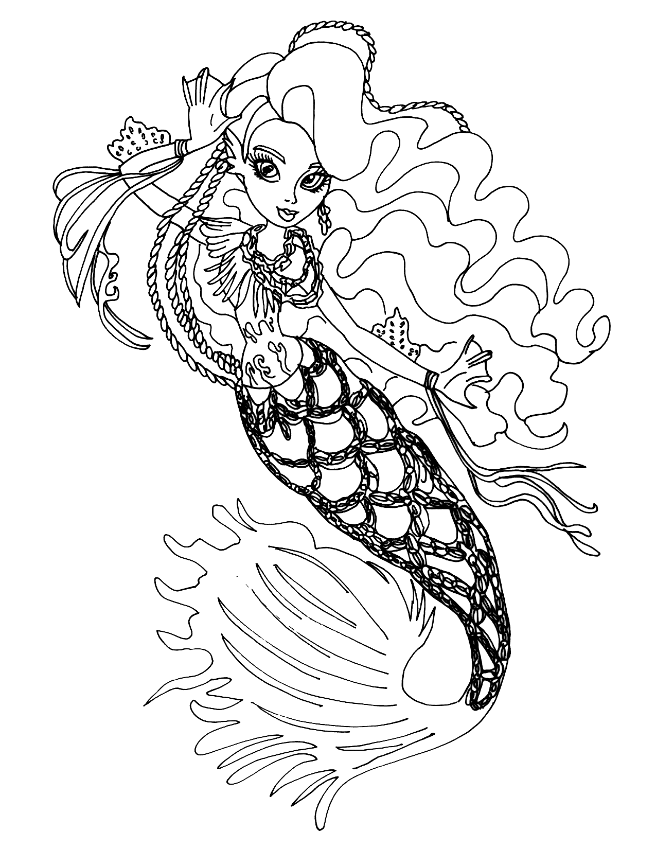 Monster High Mermaid Coloring Page