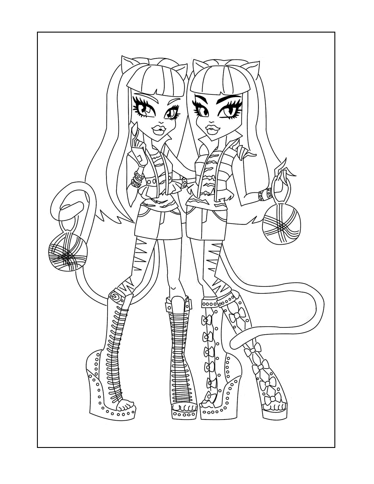 Monster High Twins Coloring Page