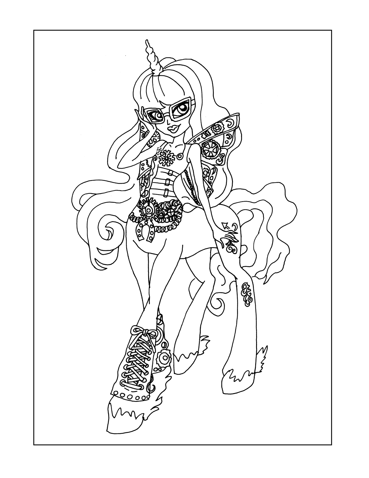Monster High Unicorn Coloring Page