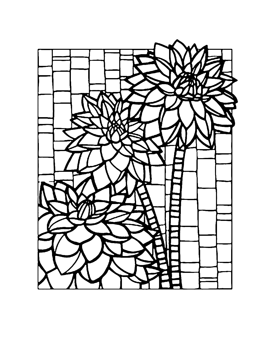 Mosaic Flowers Coloring Page