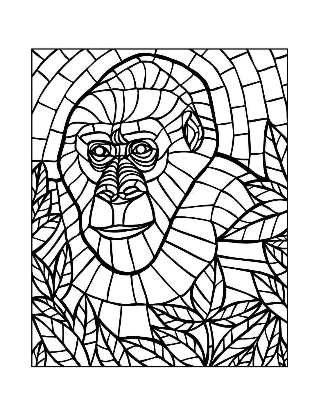 Mosaic Gorilla Coloring Page
