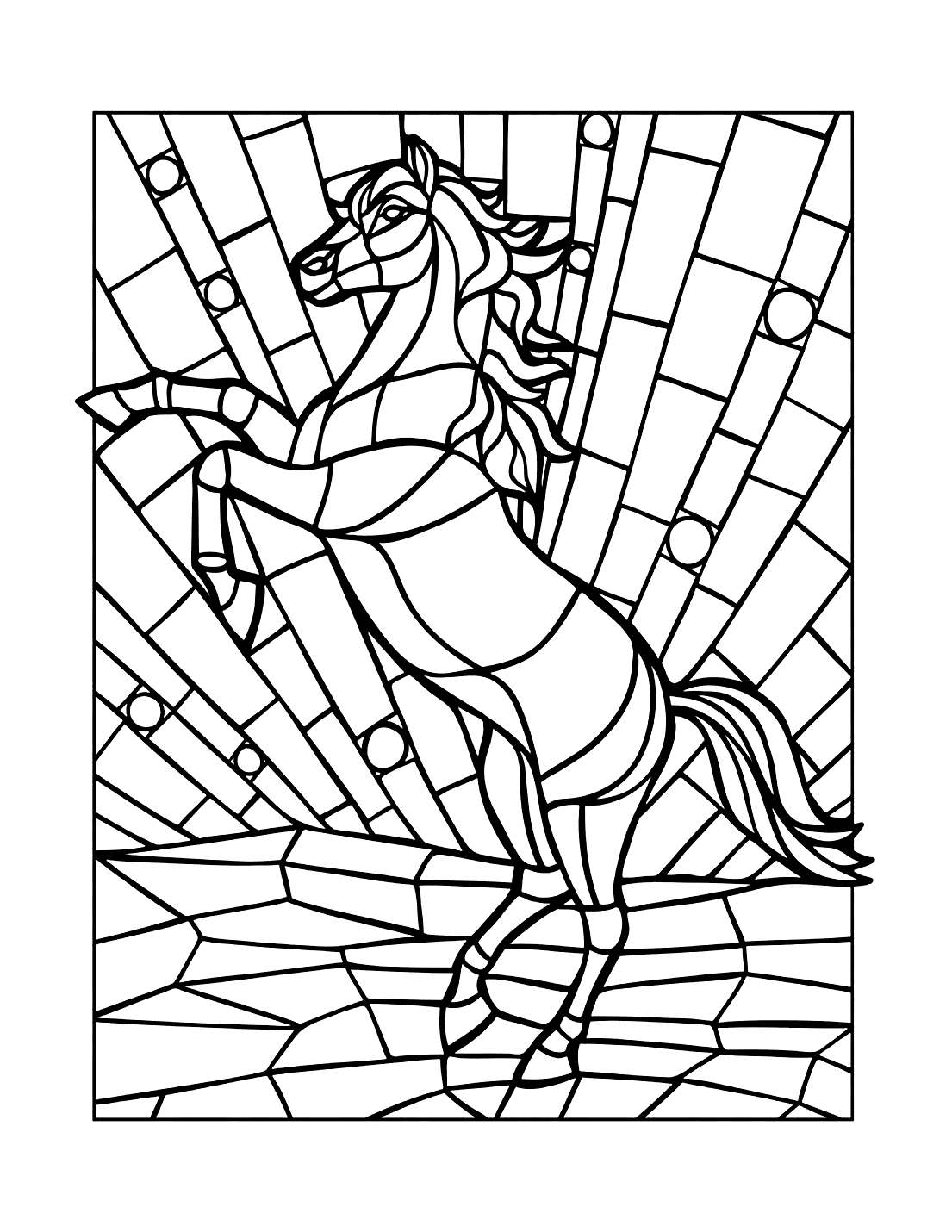 Mosaic Horse Coloring Page