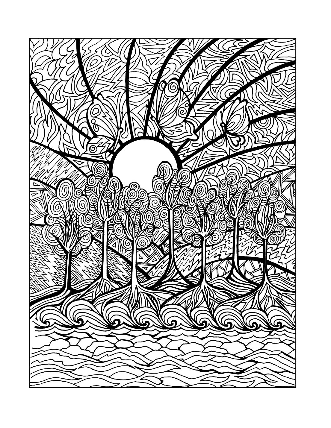 Mosaic Landscape Scene Coloring Page