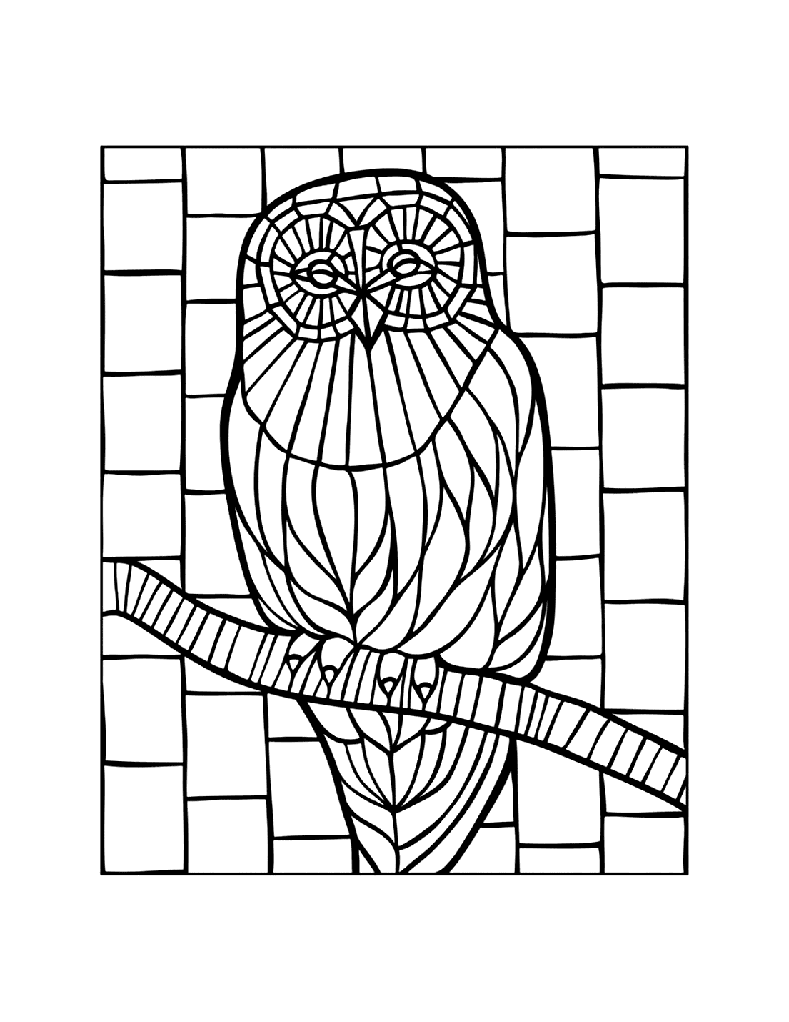 Mosaic Owl Coloring Page