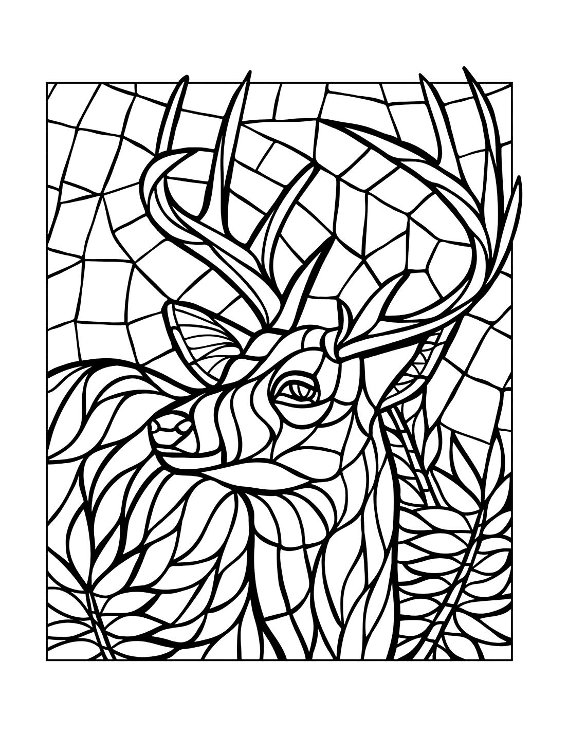 Mosaic Reindeer Coloring Page