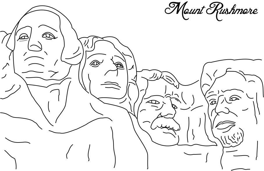 Mount Rushmore Presidents Day Coloring Page Printable