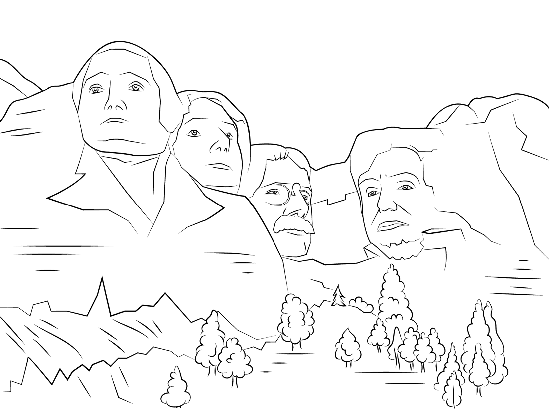 Mount Rushmore Presidents Day Coloring Pages