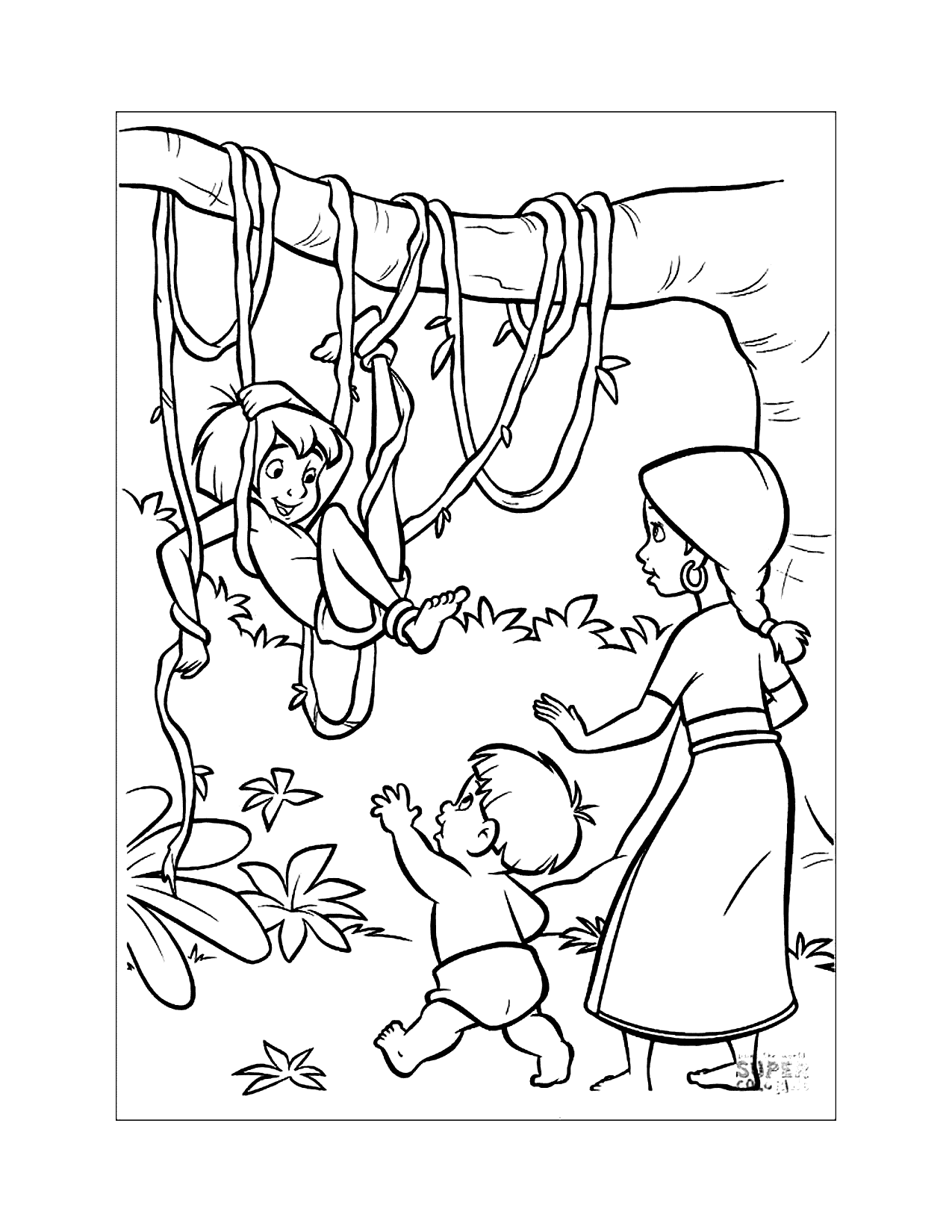Mowgli Gets Caught Up Coloring Page