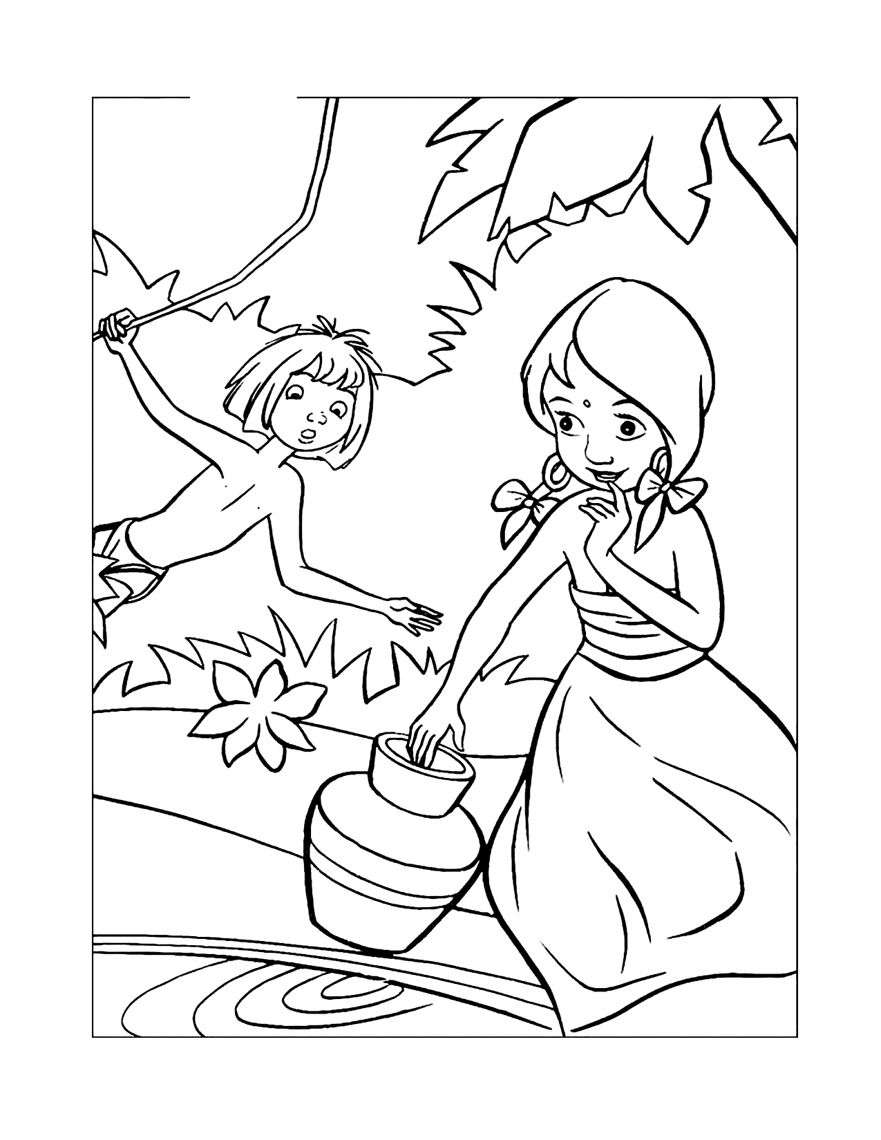 Mowgli Meets Shanti Jungle Book Coloring Pages