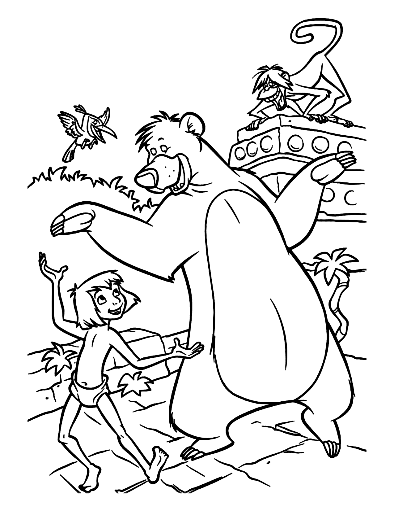 Mowgli And Baloo Jungle Book Coloring Pages