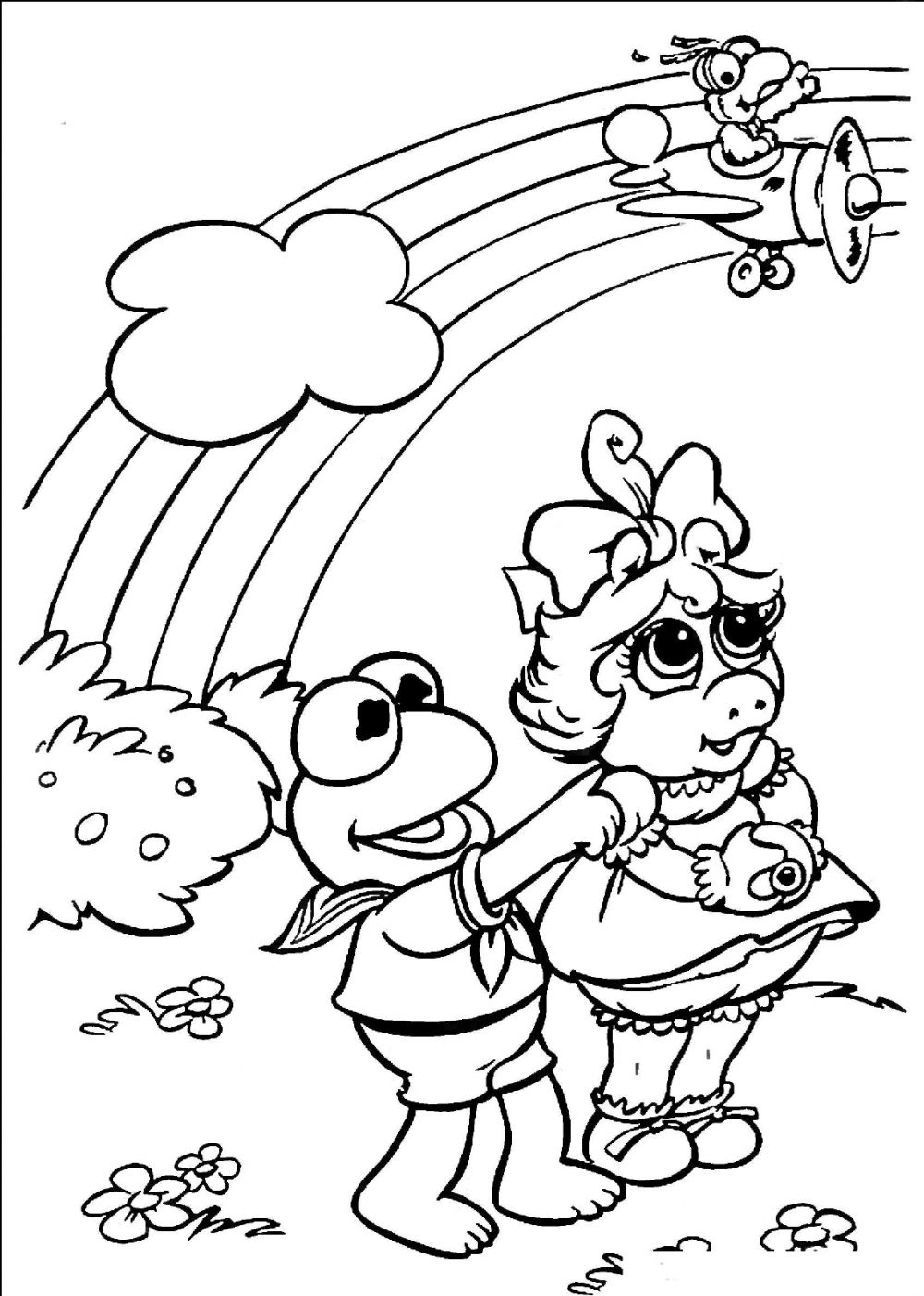 Muppet Babies Rainbow Coloring Page