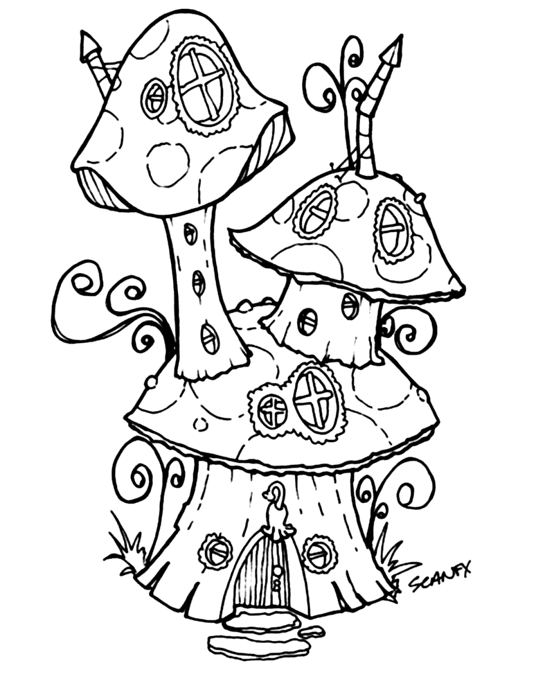 - Mushroom House Coloring Pages – Coloring.rocks!
