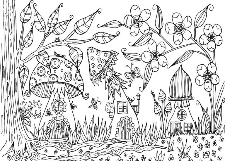 Mushrooms - Fall Coloring Page