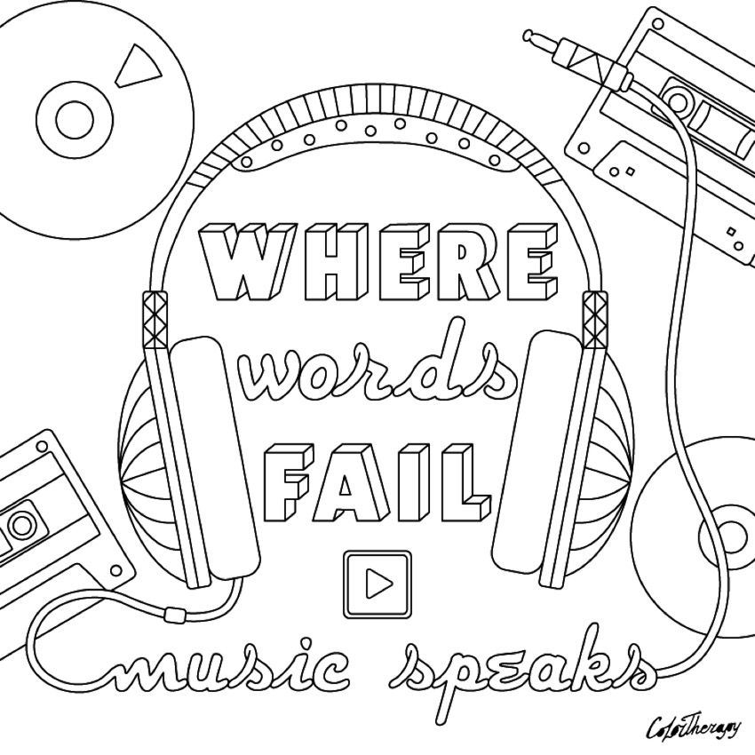 Music Speaks Cool Coloring Pages