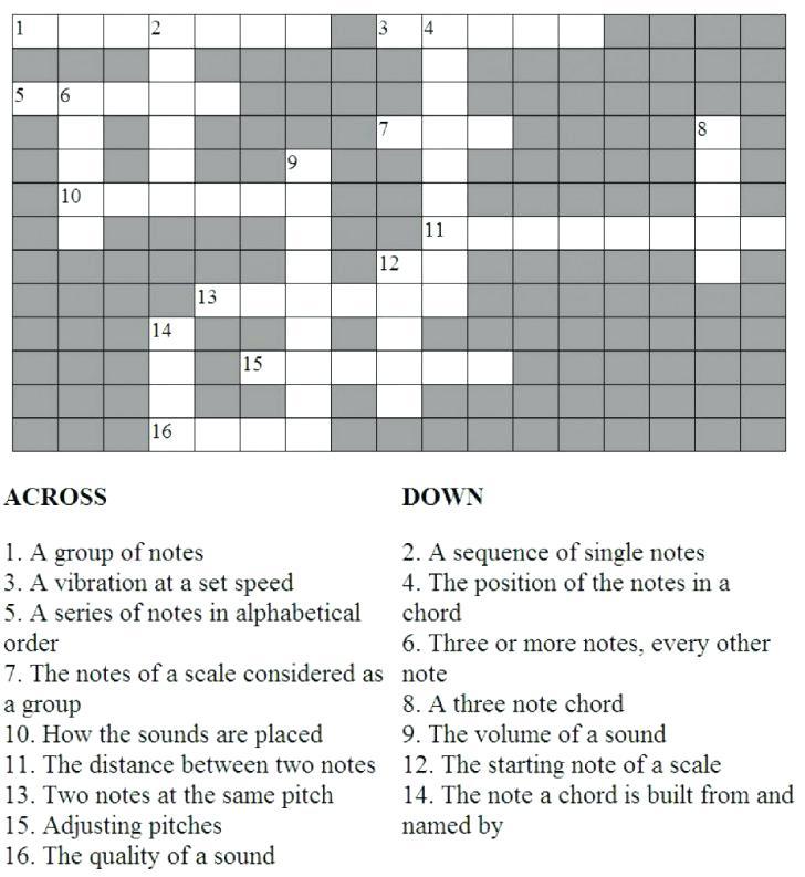 Music Terms Crossword Puzzle