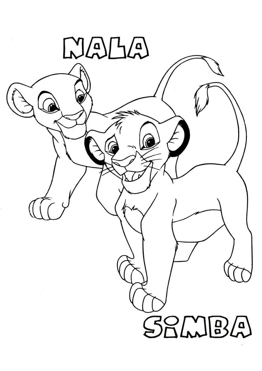 Nala and Simba Coloring Page