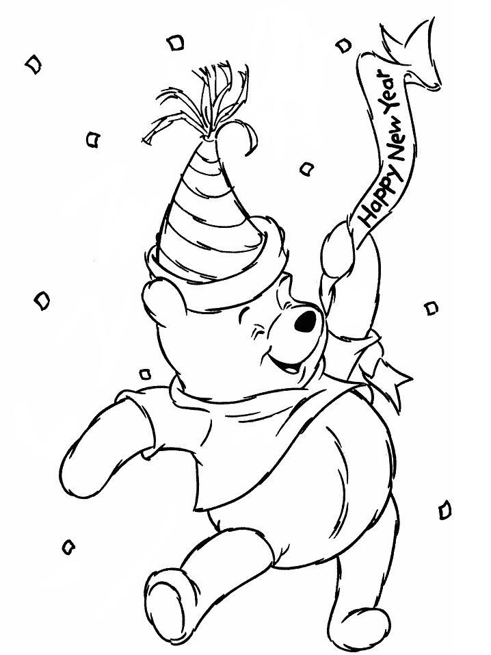 New Year Winnie the Pooh Coloring Pages